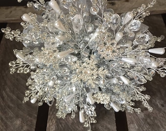 Larger Bridesmaids bouquet, winter wedding, snowflake bouquet, silver bouquet, beaded bouquet, brooch bouquet, wedding bouquet, Christmas we