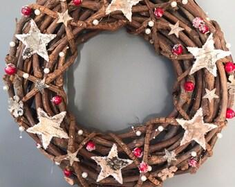 Christmas wreath - Rattan wreath - snowflake wreath door wreath - burgundy wreath - holiday wreath - simple wreath - xmas wreath