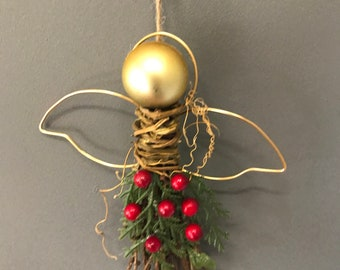Christmas Decoration, Rustic Angel Christmas Decoration, Angels, Hanging Christmas Tree Decoration. WInter Red decoration