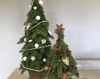 Faux Christmas Tree, Decorated Christmas Tree, Artificial Christmas tree. Christmas Decoration