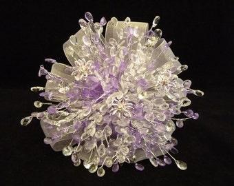 Bridesmaids bouquet - Beaded bouquet - Great brooch alternative - Silver and purple bouquet - crystal bouquet -diamante bouquet