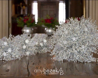 Ivory snowflake bridesmaids bouquet - Christmas wedding bouquet - winter wedding - flowergirl - child