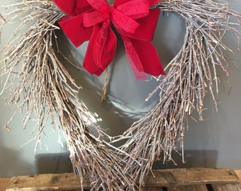 Christmas heart wreath with red bow, Door wreath, large wreath, burgundy wreath. Country wreath, natural wreath, Christmas gift