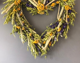Dried heart wreath in greens, blues and yellows. Heart wreath. Summer ereath, spring wreath, door wreath