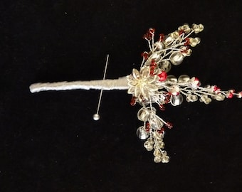 Red and silver boutonniere, red and silver buttonhole, Grooms bouonniere, Ushers boutonniere, Crystal flower boutonniere, eaded buttonhole