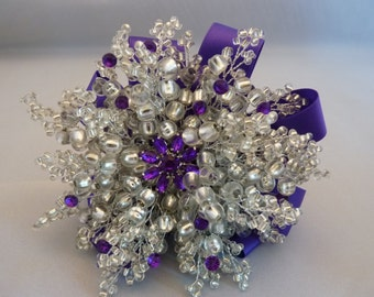 Purple and silver bridesmaids bouquet - brooch bouquet - purple flower brooch - purple diamantes - silver  beaded bouquet - dark purple