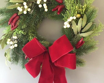 Christmas door wreath, chilli door wresth, berry door wreath, red wreath, natural wreath, xmas wreath