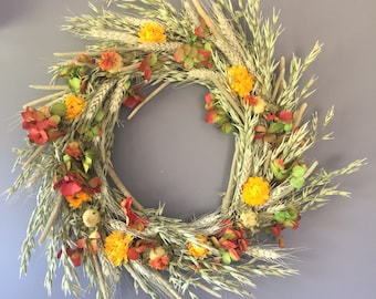 Dried flower wreath, yellow orange and green flower wall decor, yellow and orange wreath, kitchen wreath, summer wreath, house decor