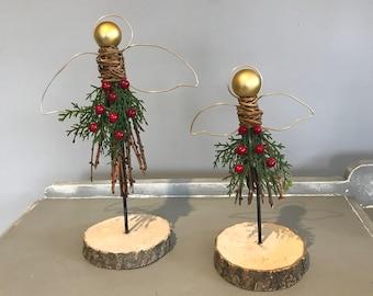 Christmas Decoration, Rustic Angel Christmas Decoration, Angels, WIndowsill Decoration. WInter Red decoration
