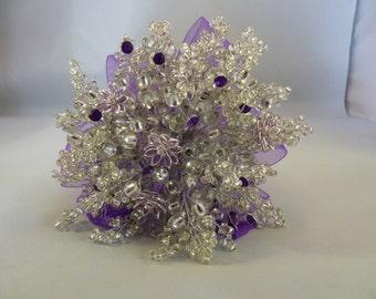 Purple and silver bridesmaids bouquet - purple and silver diamante flowers - purple diamantes and silver beads - flower girl bouquet.