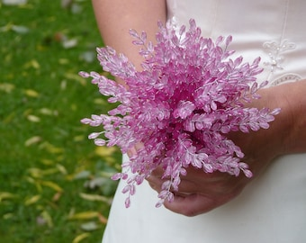 Pink bridesmaids bouquet cerise pink mid pink light pink on silver wire stems with silver ribbon flowergirl bouquet