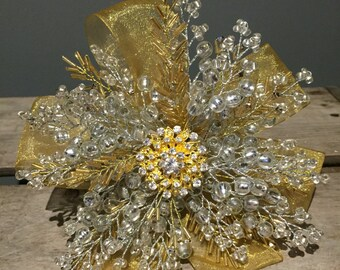 Gold and silver bridesmaids brooch bouquet - beaded bouquet - crystal bouquet- flowergirl bouquet.