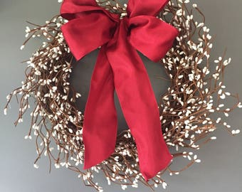 Pip berry wreath - door wreath - winter wreath - white wreath - rustic wreath - natural wreath -  wreath - white  berry wreath