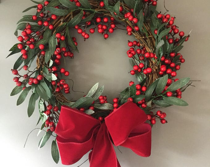 Featured listing image: Red Berry wreath - vine wreath - Christmas wreath - xmas wreath - rustic wreath Red- natural wreath - red berries