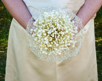 Wedding Bridal Bouquet with pearls in ivory, wire frame and gold wire stems and ivory ribbon.