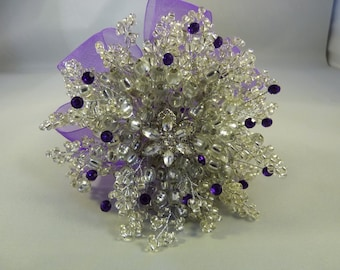 Silver and purple bridesmaids bouquet - Brooch alternative - Purple diamantes - Silver flower brooch - purple ribbon