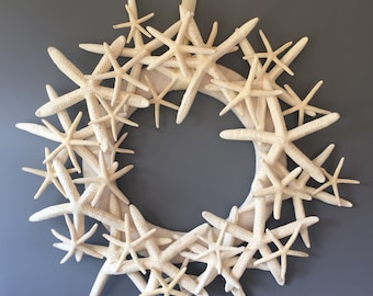 Beach wreath, star fish wreath, summer wreath, ivory wreath, wedding decor, door wreath, wall decoration, modern wreath