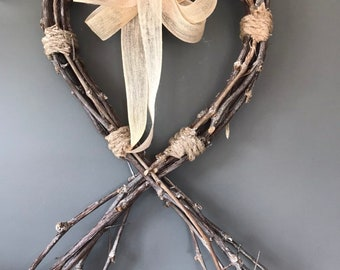 Heart wreath, heart with tails . 15 inch heart wreath with hessian ribbon. Rustic heart wreath. All year door wreath.