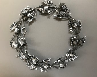 Metal bell Christmas Wreath in grey With Bells And Holly Leaves, Door Wreath. Holiday Wreath