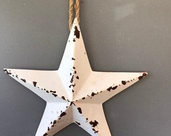 Hanging metal Christmas star aged star. Ivory star. Barn star. Christmas decoration