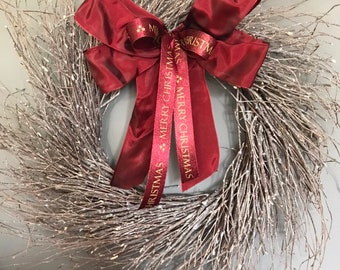Birch wreath, Christmas wreath, christmas door wreath 50cm wreath, burgundy christmas wreath. Holiday wreath