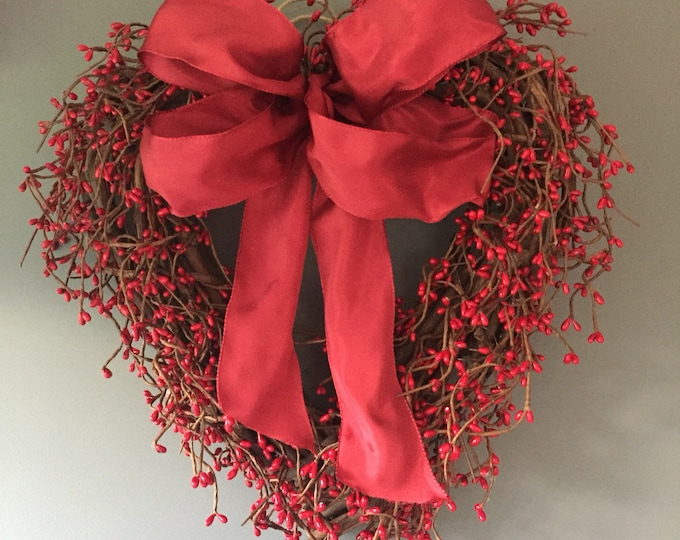 Featured listing image: Valentines red pip berry door wreath, red winter wreath, new home gift, winter door wreath. All year round decor