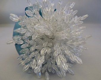Clear beaded bridesmaid bouquet with teal ribbon - greeat brooch bouquet alternative - crystal flowers - wedding flowers