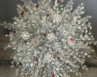 IVORY SNOWFLAKE BOUQUET, Brides bouquet, winter wedding, silver bouquet, beaded bouquet, brooch bouquet, wedding bouquet, red wedding