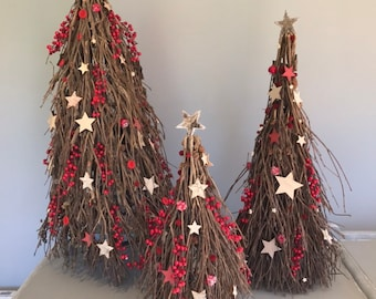 Twiggy Christmas tree, Table Christmas decoration, space saving Christmas tree. Christmas decoration. Natural Christmas tree.