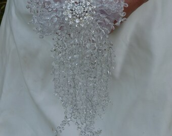 Cascade bouquet shower bouquet waterfall bouquet wedding bouquet crystal bouquet brooch bouquet alternative bridal bouquet with diamante