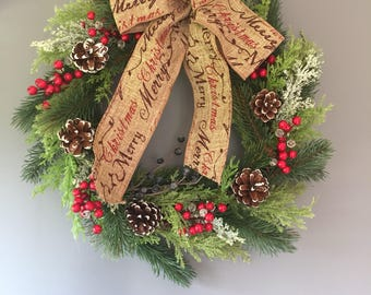 Christmas wreath in a natural style with berries. Merry Christmas bow. Country style. Xmas wreath Door wreath. Burlap wreath.