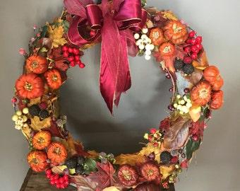 Autumnal wreath, fall wreath, halloween wreath, autumn wreath, berry wreath, pumpkin wreath, Autumn leaves, blackberries,