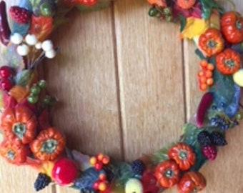Autumnal wreath, fall wreath, halloween wreath, autumn wreath, berry wreath, pumpkin wreath, Autumn leaves, blackberries, 12 inch wreath