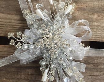 Large snowflake wrist corsage - wedding corsage - wrist corsage on a white velco band. Winter wrist corsage.