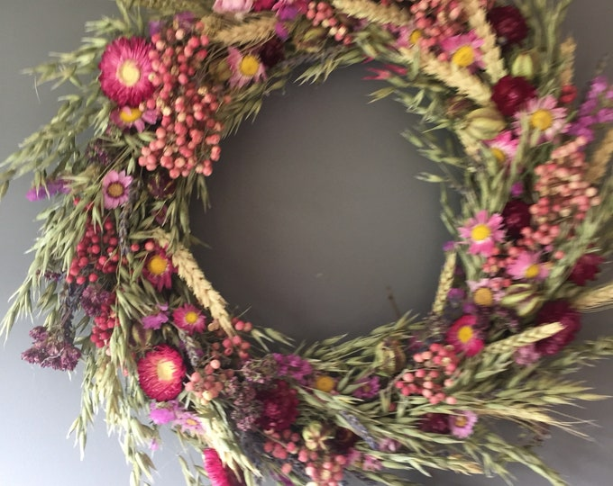 Featured listing image: Dried flower wreath, pink flower wall decor, pink wreath, kitchen wreath, summer wreath, house decor