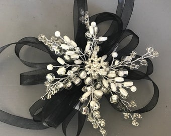 Black and silver Snowflake wrist corsage with white velcro wrist band, Winter wedding, Christmas ball, Prom wrist corsage, bridesmaids wrist