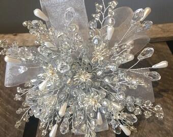 Crystal flower bridesmaids bouquet - flower girl bouquet - wedding bouquet - brooch alternative - silver bouquet.