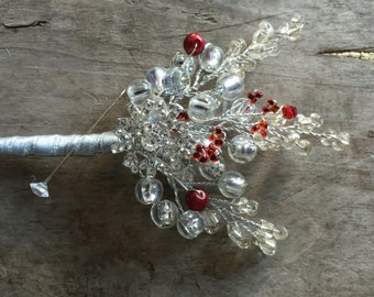 Red and silver snowflake boutonniere, grooms buttonhole, winter wedding boutonniere.