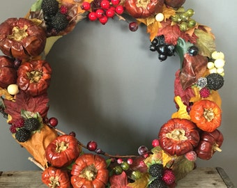 Autumnal wreath, fall wreath, halloween wreath, autumn wreath, berry wreath, pumpkin wreath, Autumn leaves, blackberries, 12 inch wreath