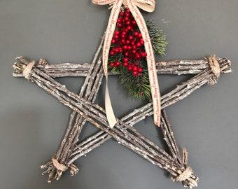 Christmas star, christmas wreath, christmas decoration, xmas wall hanging