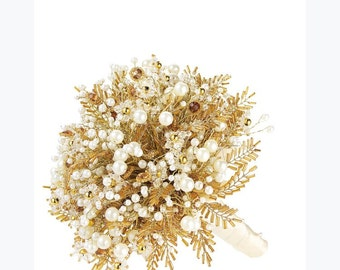 Wedding bouquet in gold with amber crystals, gold centered flowers, ivory pearls and gold seed bead 'leaves' wrapped in ivory ribbon'