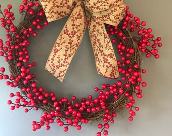 Berry wreath - vine wreath - Christmas wreath - xmas wreath - rustic wreath - natural wreath - red wreath - red berry wreath