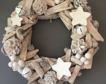 Christmas wreath, Holiday wreath, winter white wreath , star wreath, bell wreath, driftwood wreath.
