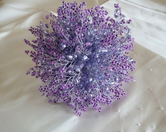 Lavender and purple wedding bouquet with silver stems and silver ribbon. Handtied bridal bouquet. Brides bouquet.