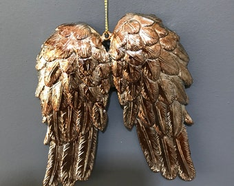 Angel wings Christmas tree decoration in Gold/Brown and Silver. Christmas Decoration, Christmas Ornament