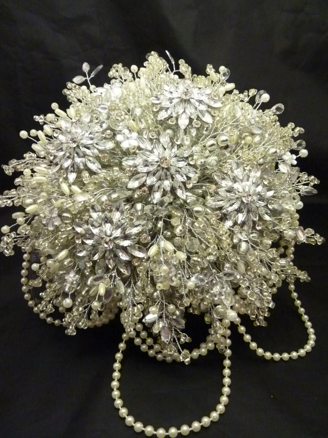 Great Gatsby Wedding Bouquet With Large Flower Brooch In Ivory