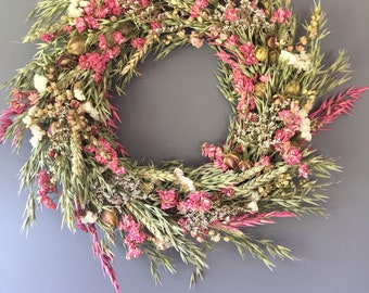 Dried flower wreath, pink and white flower wall decor, pink and white wreath, kitchen wreath, summer wreath, house decor