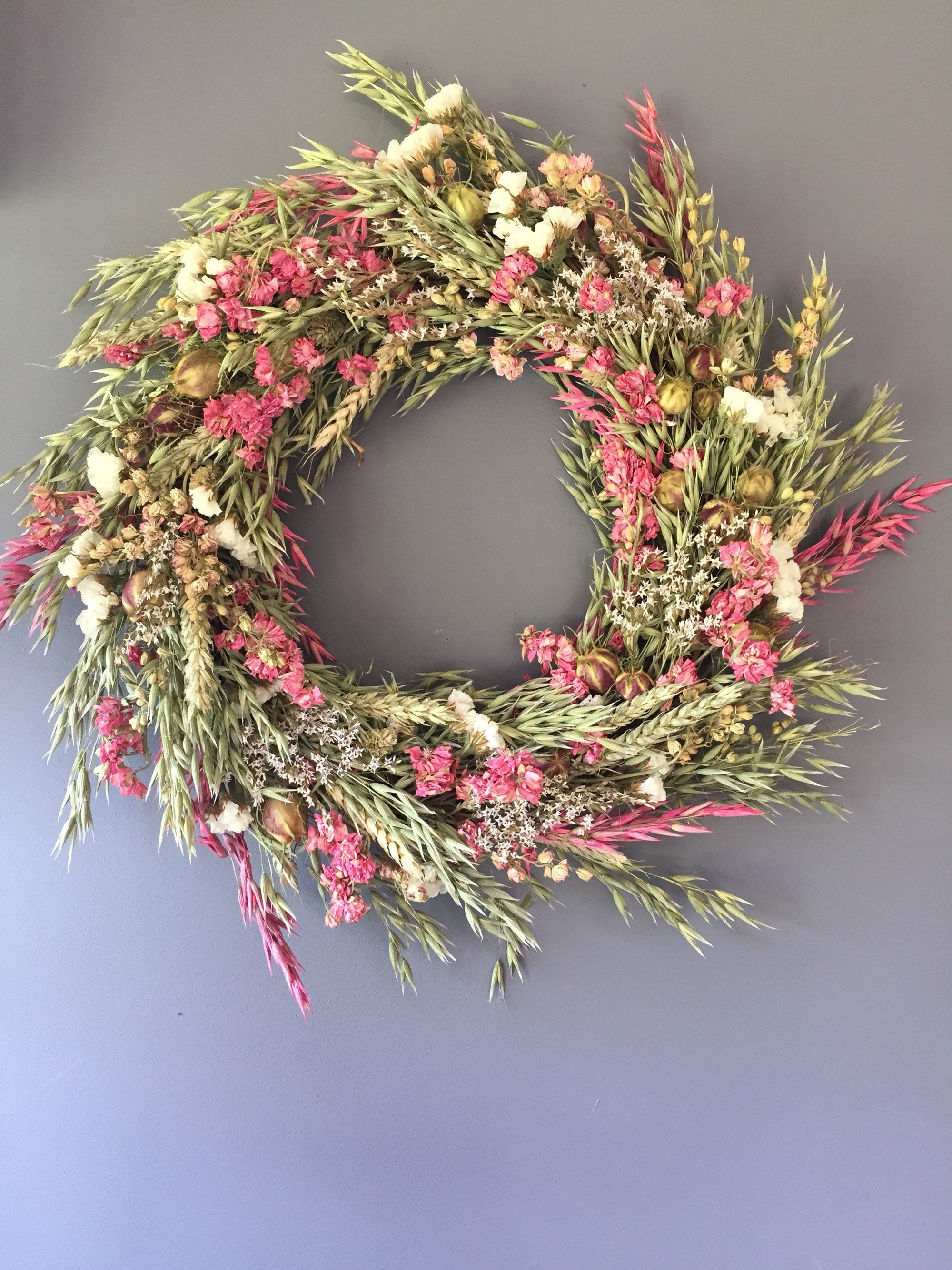 Dried Flower Wreath Pink And White Flower Wall Decor Pink And