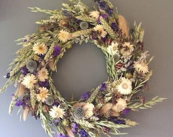 Dried flower wreath, Blue and white flower wall decor, blue and white wreath, kitchen wreath, summer wreath, house decor