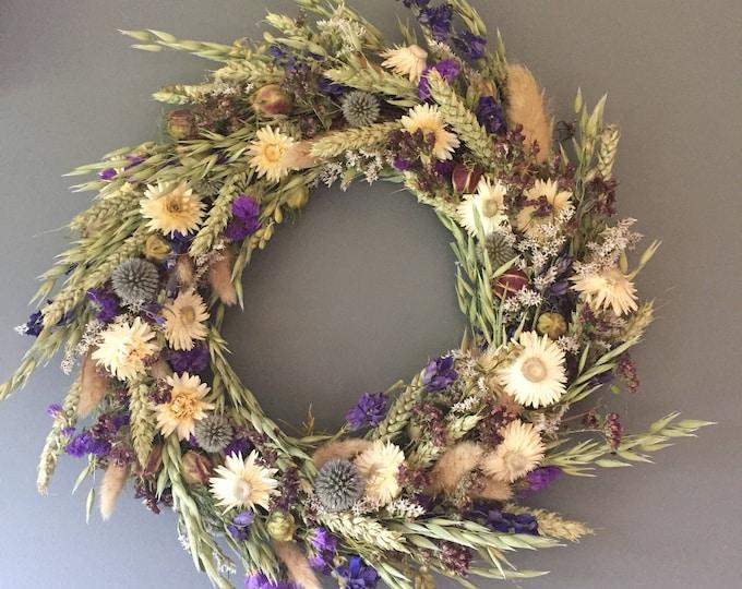 Featured listing image: Dried flower wreath, Blue and white flower wall decor, blue and white wreath, kitchen wreath, summer wreath, house decor